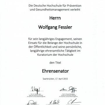 Wolfgang Fessler zum Senator h.c. der Deutschen Hochschule für Prävention und Gesundheitsmanagement ernannt