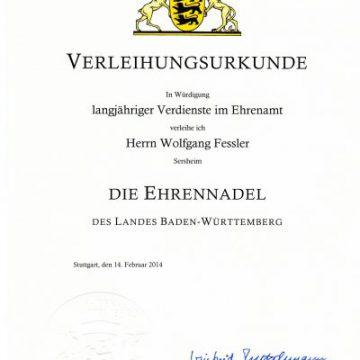 Landesehrennadel für Wolfgang Fessler