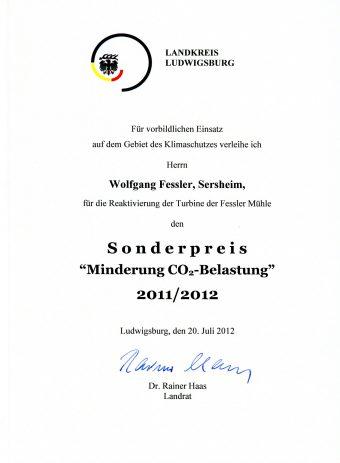 Umweltpreis des Landkreises Ludwigsburg für die Fessler Mühle