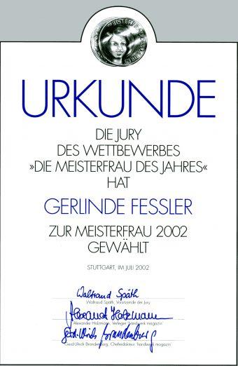 """Gerlinde Fessler """"Meisterfrau 2002"""""""