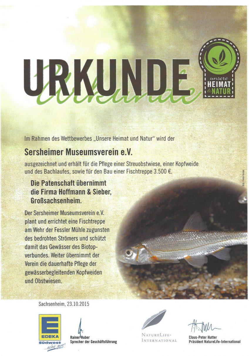 Verein der Fessler Mühle mit dem Naturpreis von EDEKA ausgezeichnet.
