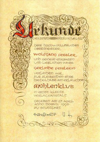 Ehrenmitglieder im Mühlenclub des Ernst-Klett-Verlages