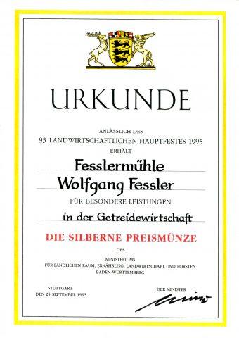 Silberne Preismünze des Landes Baden-Württemberg