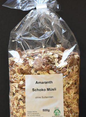 Schoko-Amaranth Müsli mit 19% Schokolade und 9% Amaranth