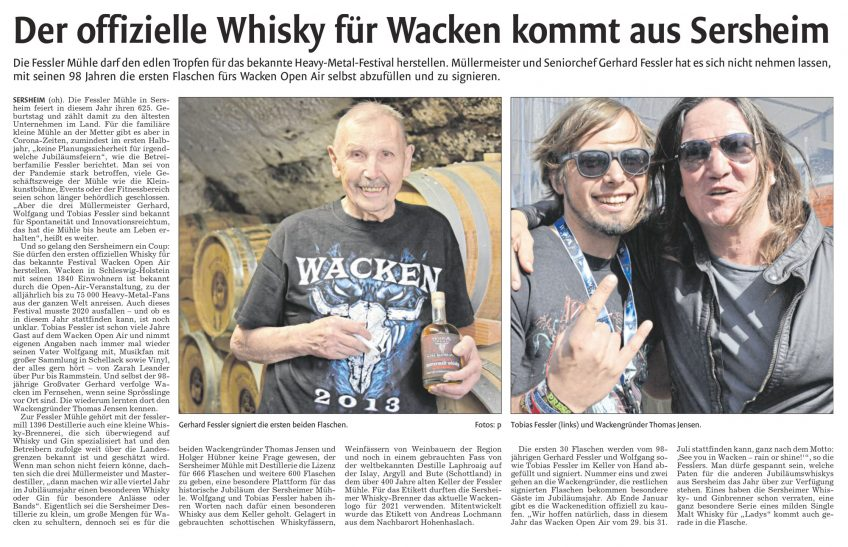Vaihinger Kreiszeitung berichtete über den Wacken Whisky